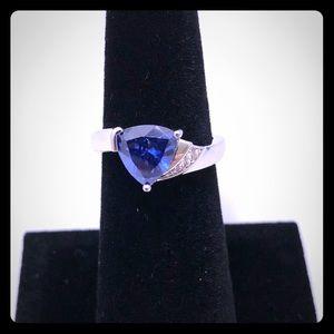 Elegant Tanzanite and CZ 925 Sterling Silver Ring